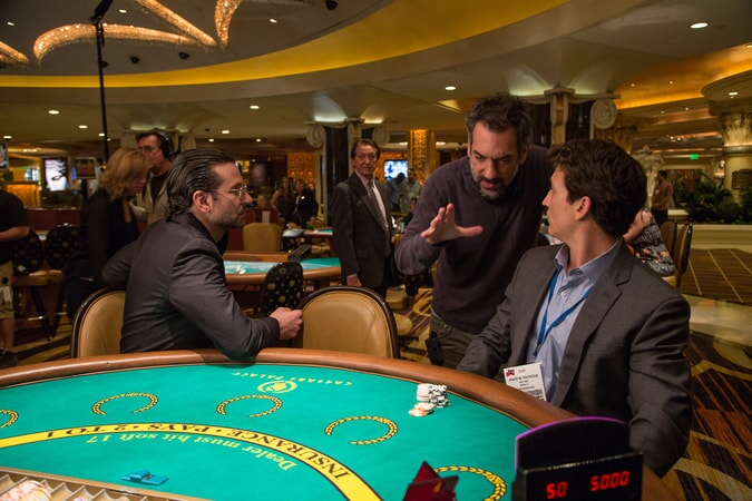 "Actor/producer BRADLEY COOPER, director/writer/producer TODD PHILLIPS and MILES TELLER on the set of Warner Bros. Pictures' comedic drama (based on true events) ""WAR DOGS,"" a Warner Bros. Pictures release."