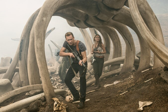 "TOM HIDDLESTON as Conrad, BRIE LARSON as Mason in Warner Bros. Pictures' and Legendary Pictures' action adventure ""KONG: SKULL ISLAND,"" a Warner Bros. Pictures release."