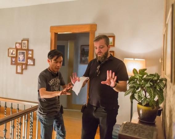 Producer JAMES WAN and director DAVID F. SANDBERG on the set