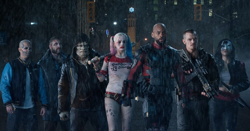 JAY HERNANDEZ as Diablo, JAI COURTNEY as Boomerang, ADEWALE AKINNUOYE-AGBAJE as Killer Croc, MARGOT ROBBIE as Harley Quinn, WILL SMITH as Deadshot, JOEL KINNAMAN as Rick Flag and KAREN FUKUHARA as Katana