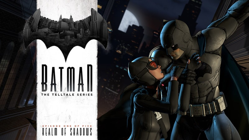 Batman and Selina embracing / Batman: The Telltale Series official logo to the left