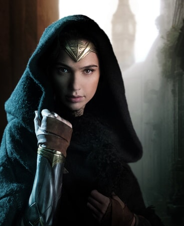 Gal Gadot as Wonder Woman wearing hood with Big Ben in background