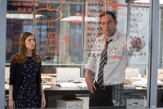 ANNA KENDRICK as Dana and BEN AFFLECK as Christian working out a math problem