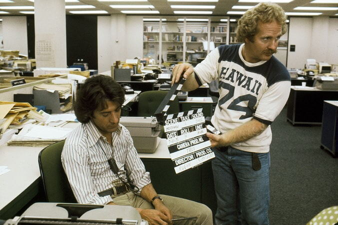 dustin hoffman on the set of all the president's men