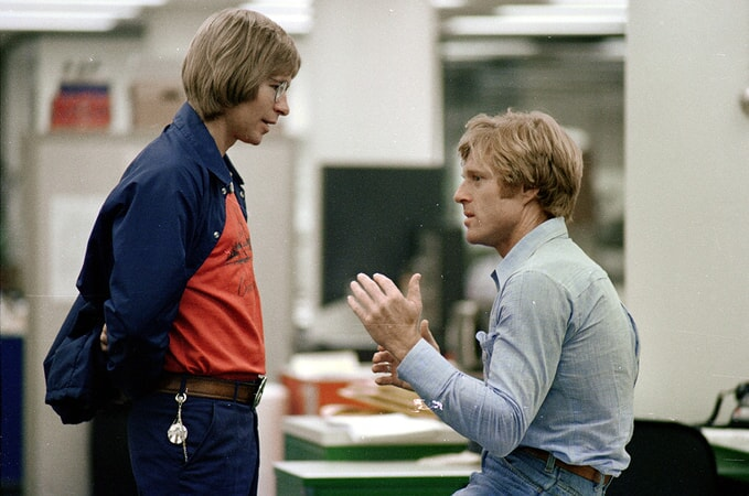 pop star john denver visiting robert redford on the set of all the president's men