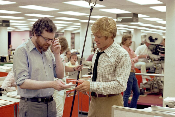 director alan pakula and robert redford on the set of all the president's men