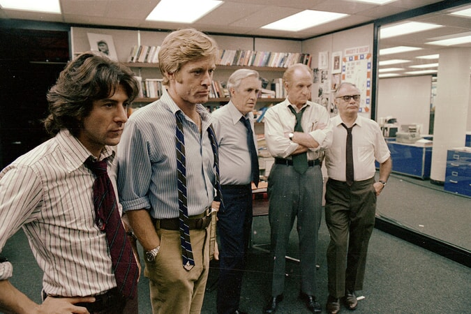 dustin hoffman robert redford jason robards jack warden and martin balsam in all the president's men