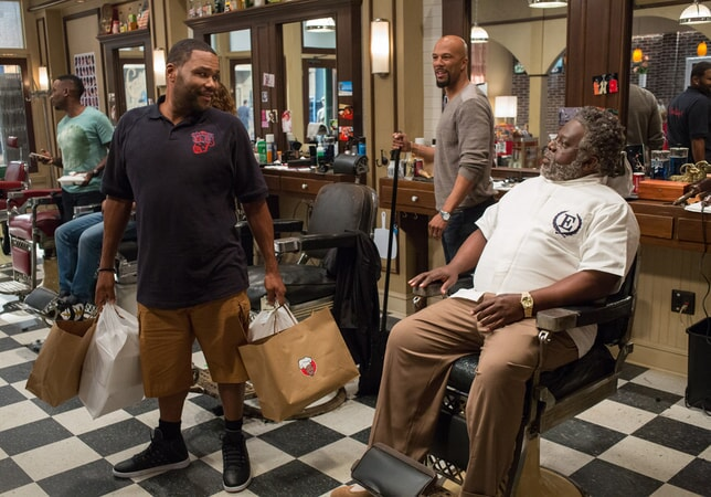 ANTHONY ANDERSON as J.D., COMMON as Rashad and CEDRIC THE ENTERTAINER as Eddie in Barbershop: The Next Cut