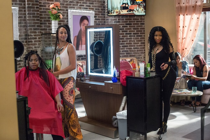 MARGOT BINGHAM as Bree and NICKI MINAJ as Draya in Barbershop: The Next Cut