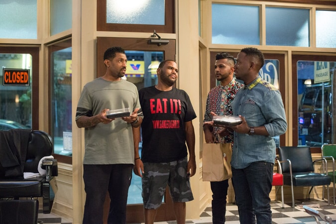 DEON COLE as Dante, ANTHONY ANDERSON as J.D., UTKARSH AMBUDKAR as Raja and LAMORNE MORRIS as Jerrod in Barbershop: The Next Cut