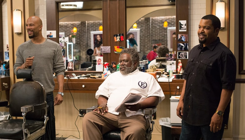 "COMMON as Rashad, CEDRIC THE ENTERTAINER as Eddie and ICE CUBE as Calvin in New Line Cinema's and Metro-Goldwyn-Mayer Pictures' comedy ""BARBERSHOP: THE NEXT CUT, "" a Warner Bros. Pictures release."
