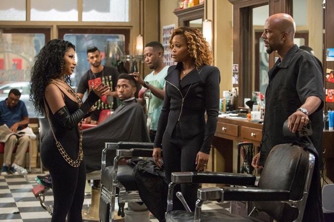 "NICKI MINAJ as Draya, UTKARSH AMBUDKAR as Raja, LAMORNE MORRIS as Jerrod, EVE as Terri and COMMON as Rashad in New Line Cinema's and Metro-Goldwyn-Mayer Pictures' comedy ""BARBERSHOP: THE NEXT CUT, "" a Warner Bros. Pictures release."