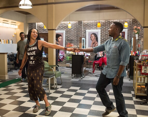 DEON COLE as Dante, MARGOT BINGHAM as Bree and LAMORNE MORRIS as Jerrod in Barbershop: The Next Cut