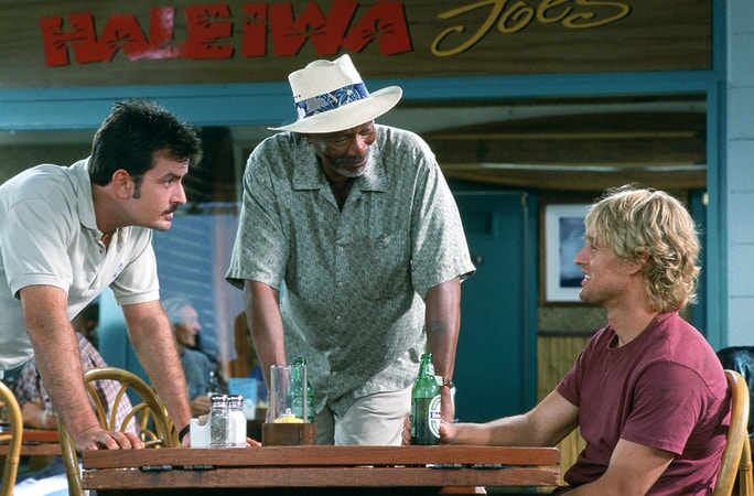 charlie sheen, morgan freeman and owen wilson star in the big bounce