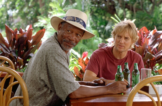 morgan freeman and owen wilson drinking beer in the big bounce