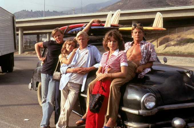 gary busey, patti d'arbanville, william katt, lee purcell and jan-michael vincent in big wednesday