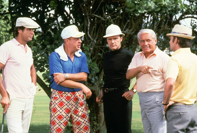 chevy chase as ty webb, rodney dangerfield al czervik, dan resin as dr. beeper, ted knight as judge smails and brian doyle-murray as lou loomis in caddyshack