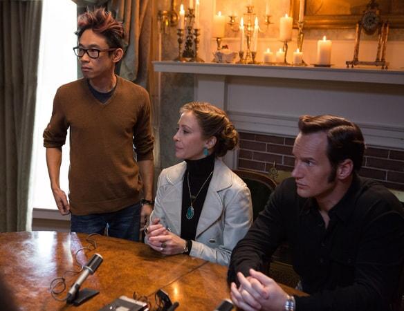 Director/writer/producer JAMES WAN, VERA FARMIGA and PATRICK WILSON on the set