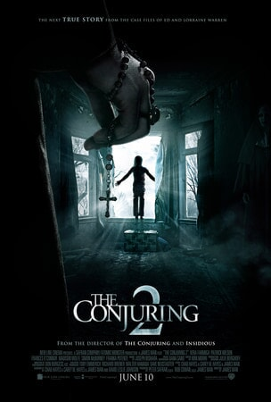 The Conjuring 2: A rosary wrapped around a hand with a silhouette of a person stadning in a window in the distance