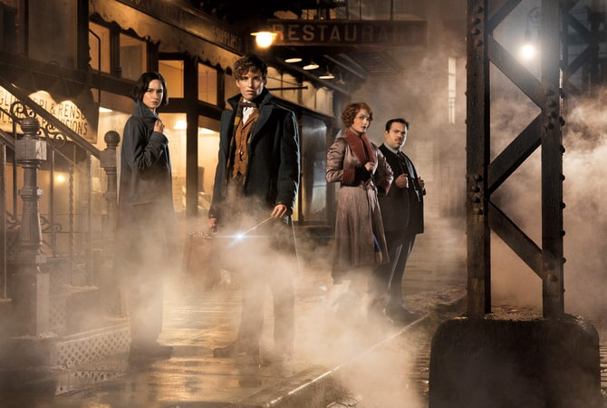 "KATHERINE WATERSTON as Tina, EDDIE REDMAYNE as Newt Scamander, ALISON SUDOL as Queenie and DAN FOGLER as Jacob in Warner Bros. Pictures' fantasy adventure ""FANTASTIC BEASTS AND WHERE TO FIND THEM,"" a Warner Bros. Pictures release."