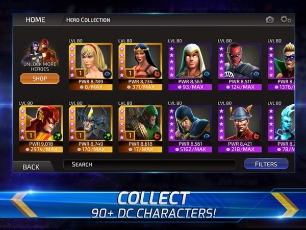 Collect 90+ DC characters!