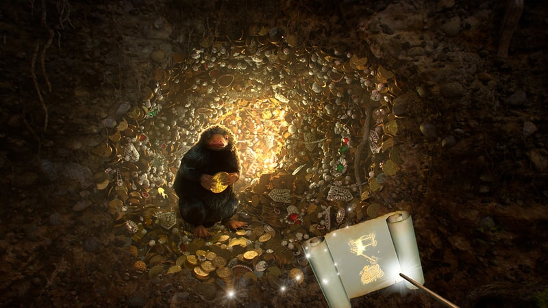 a niffler on a collection of gold coins