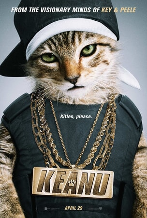 "Keanu poster: Kitten dressed in ""urban gear"""