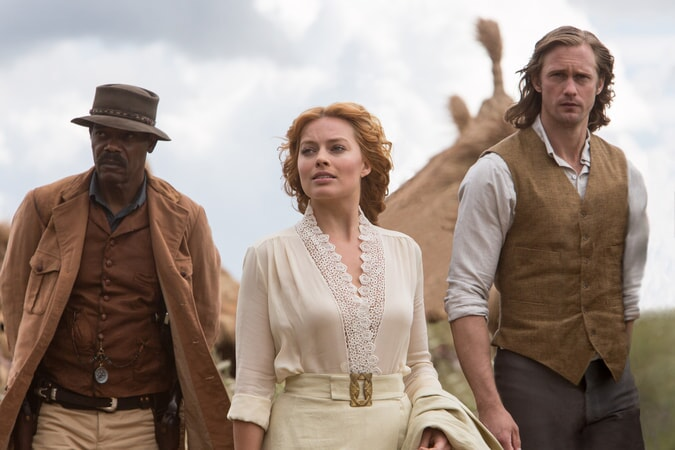 (L-r) SAMUEL L. JACKSON as George Washington Williams, MARGOT ROBBIE as Jane and ALEXANDER SKARSGÅRD as Tarzan