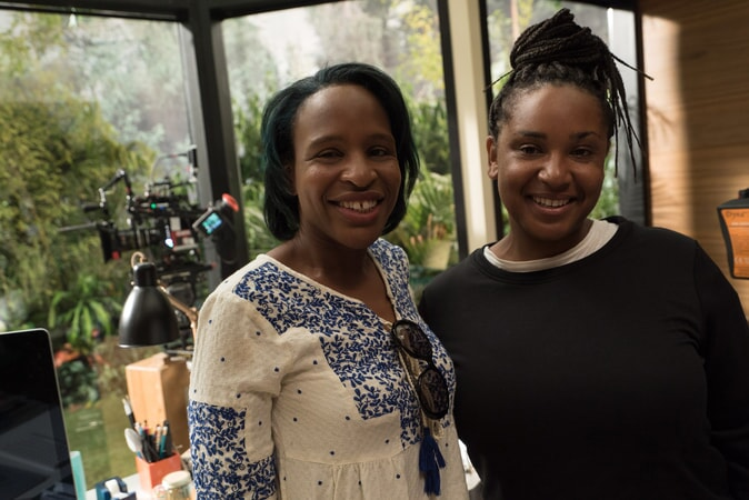 "Author NICOLA YOON and director STELLA MEGHIE on the set of the Warner Bros. Pictures and Metro-Goldwyn-Mayer Pictures romantic drama ""EVERYTHING, EVERYTHING,"" a Warner Bros. Pictures release."