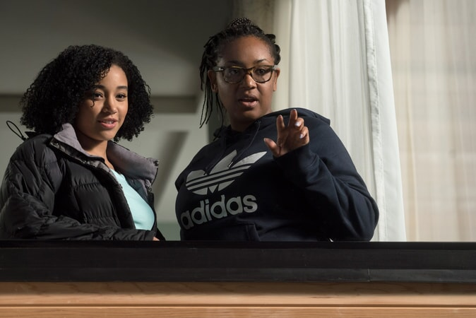 "AMANDLA STENBERG and director STELLA MEGHIE on the set of the Warner Bros. Pictures and Metro-Goldwyn-Mayer Pictures romantic drama ""EVERYTHING, EVERYTHING,"" a Warner Bros. Pictures release."