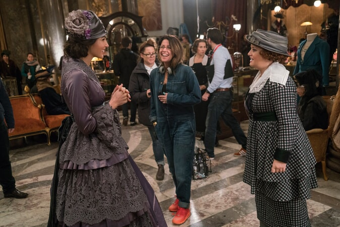"(Foreground L-R) GAL GADOT, director PATTY JENKINS and LUCY DAVIS on the set of the action adventure ""WONDER WOMAN,"" a Warner Bros. Pictures release."
