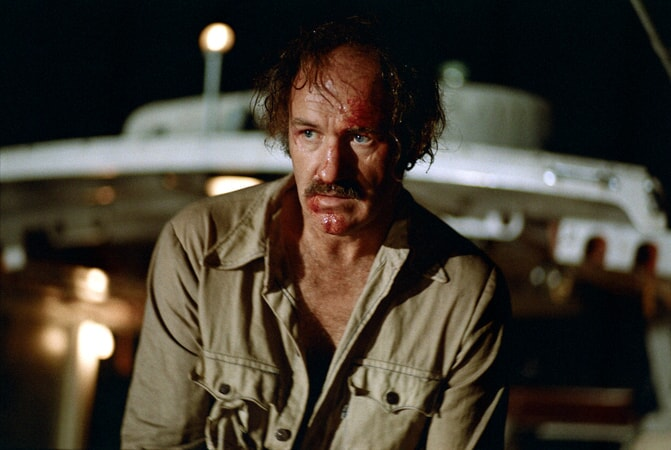 wounded Gene Hackman as Harry Moseby.