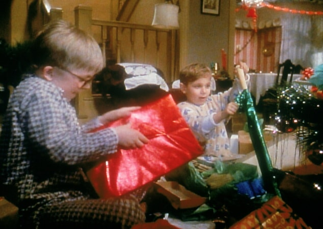 Ralphie and Randy opening presents on Christmas morning