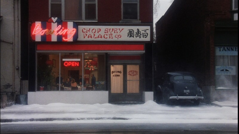 Exterior shot of Chinese restaurant on Christmas day