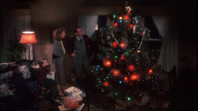 Parker family admiring Christmas tree after decorating