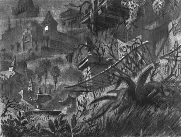 Production rendering of Xanadu, Charles Foster Kane's extravagant mansion.