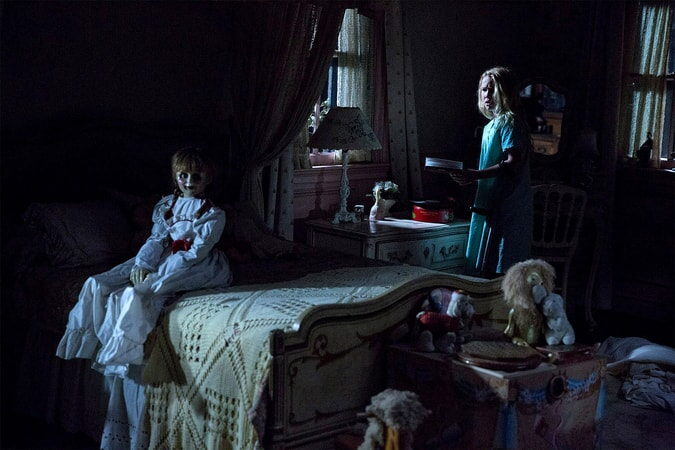 "The Annabelle doll and TALITHA BATEMAN as Janice in New Line Cinema's supernatural thriller ""ANNABELLE 2,"" a Warner Bros. Pictures release"
