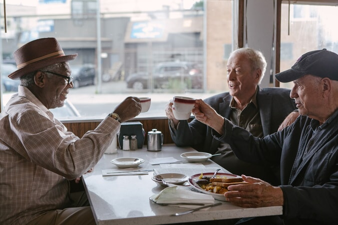 "MORGAN FREEMAN as Willie, MICHAEL CAINE as Joe and ALAN ARKIN as Al in the New Line Cinema comedy ""GOING IN STYLE,"" a Warner Bros. Pictures release."