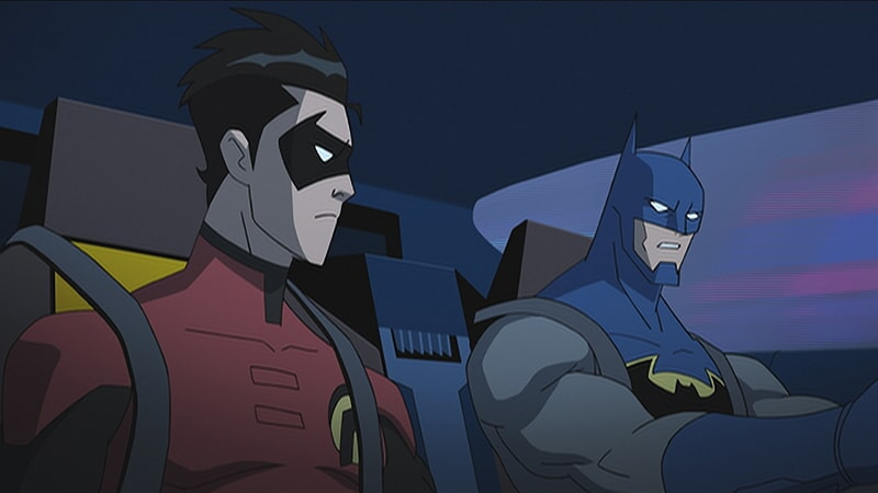 robin and batman in the batmobile in batman unlimted: mechs vs mutants