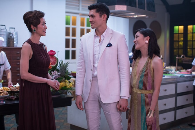 "(L-R) MICHELLE YEOH as Eleanor, HENRY GOLDING as Nick and CONSTANCE WU as Rachel in Warner Bros. Pictures' and SK Global Entertainment's contemporary romantic comedy ""CRAZY RICH ASIANS,"" a Warner Bros. Pictures release. Photo Credit: Sanja Bucko"
