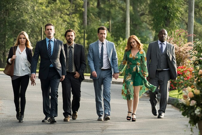 "(L-R) ANNABELLE WALLIS as Rebecca, JON HAMM as Callahan, JAKE JOHNSON as Chilli. ED HELMS as Hoagie, ISLA FISHER as Anna and HANNIBAL BURESS as Sable in New Line Cinema's and Broken Road Productions' comedy ""TAG,"" a Warner Bros. Pictures release. Photo by Kyle Kaplan"
