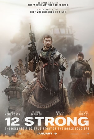 Chris Hemsworth as soldier riding on horse with helicopter and other soldiers in background