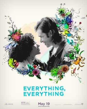 "Maddy and Olly surrounded by drawn flowers with ""Everything, Everything"" logo below"