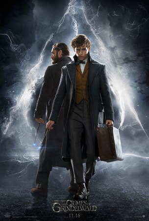 Dumbledore and Newt Scamander in front of electric bolts