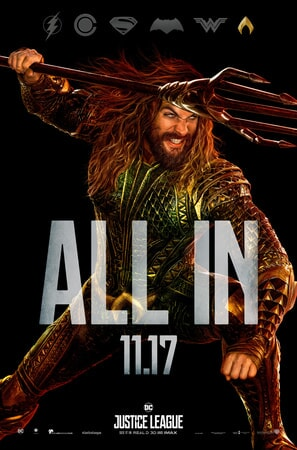 Full shot of Aquaman with ALL IN text superimposed over him