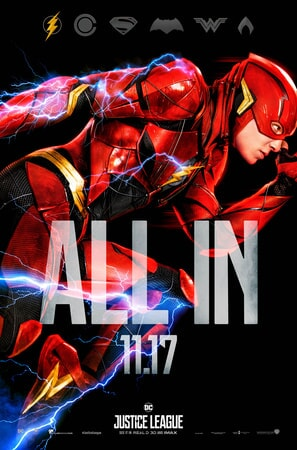 Full profile shot of The Flash with ALL IN text superimposed over him