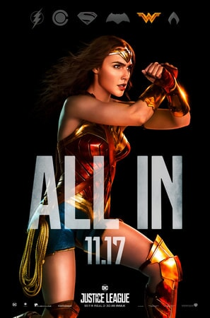 Full shot of Wonder woman with ALL IN text superimposed over her