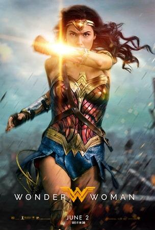 Wonder Woman running forward deflecting with wrist cuffs