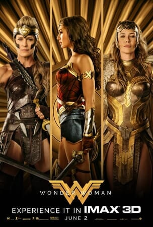 Antiope, Wonder Woman and Hippolyta in warrior gear, holding their weapons in front of golden background