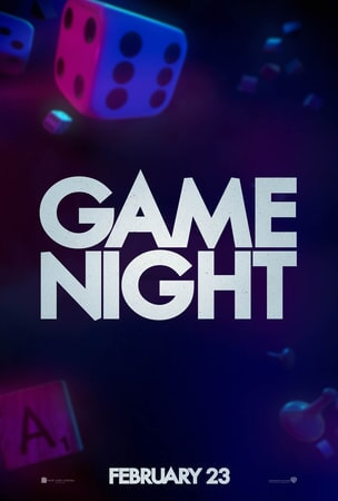 Game Night logo with dice and scrabble letters floating a purple background